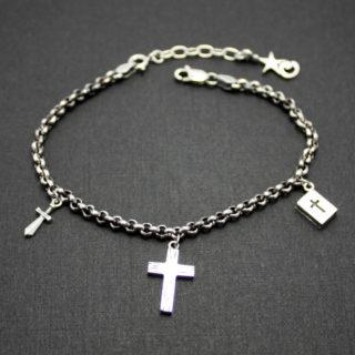 聖書・十字架・短剣のチャームブラ下がるブレスレット「W FACED BRACELET」